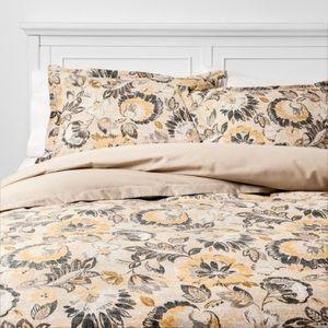 Threshold grey and yellow queen duvet set